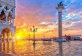 image of piazza  - Piazza San Marco at sunrise - JPG