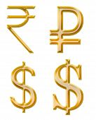 Signs Of Currencies: Rupee, Ruble, Dollar