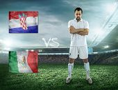 Soccer player stay at field. Game Croatia and Mexica national teams.