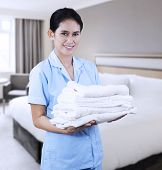 Cleaning Lady At Hotel Room