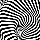 Design Monochrome Whirlpool Motion Illusion Background. Abstract Strip Lines Torsion Backdrop