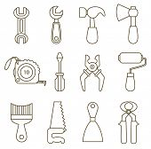 set of working tools icons (coloring book)