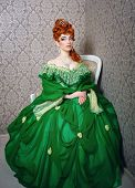 picture of evening gown  - Attractive young girl in green gown and red wig - JPG