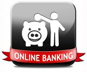 online banking money deposit on internet piggy bank account icon or button