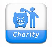 stock photo of generous  - charity button fund raising raise money to help donate give a generous donation or help with the fundraise gifts - JPG