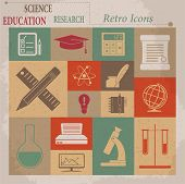 School and Education Vector Flat Retro Icons
