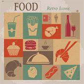 Food Flat Vector Retro Icons