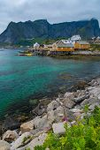 stock photo of reining  - Traditional wooden houses in Reine village - JPG