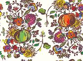 Seamless pattern with fruits for autumn hand drawn