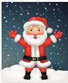 Cute Santa cartoon waving hand