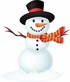 Christmas Snowman cartoon wearing a Hat and red scarf