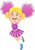 foto of pom-pom  - Vector illustration of Cheerleader cartoon with Pom Poms - JPG