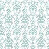 Seamless turquoise and white damask retro background