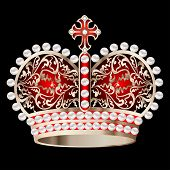Crown With Pearls And Ornament On A Black