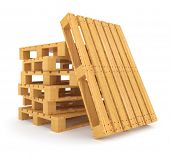 Pile of wooden pallets. 3d rendered illustration. Isolated on white background. Clipping path includ
