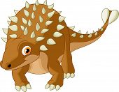 foto of ankylosaurus  - Vector illustration of Cute ankylosaurus cartoon isolated on white background - JPG