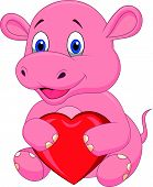 Hippo cartoon holding red heart