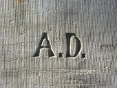 Letters A.D. - Anno Domini on the wall of an old church