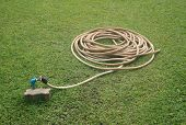 Reel Of Hose Pipe On Grass
