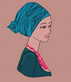 Asian Woman In A Turban