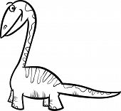 image of apatosaurus  - Black and White Cartoon Illustration of Apatosaurus Prehistoric Dinosaur for Coloring Book - JPG