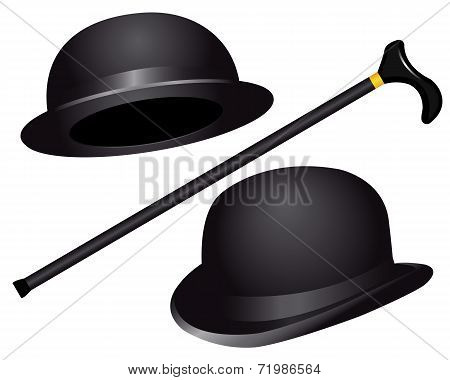 Two Hats And Cane