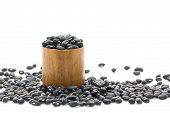 pic of kidney beans  - Dry black beans in wood cup on white background - JPG