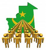 Lines of people with Mauritania map flag illustration