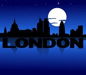 London skyline reflected with text and moon illustration