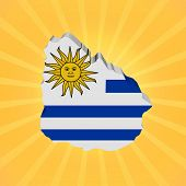 Uruguay map flag on sunburst illustration