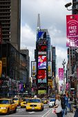 NEW YORK CITY, NY - SEP 5: Times Square is featured with Broadway Theaters and LED sign as a symbol