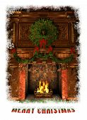 Fireplace Decorated For Christmas, 3D Cg