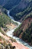 Yellowstone River Winding Through Its Canyon On A Late Summer Day