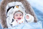 Baby In Stroller In A Winter Park