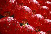 Tradition Red Chinese Lantern Style  Use As About China Background ,backdrop,