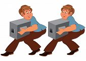 Happy Cartoon Man In Brown Pants Walking With Boxes