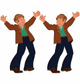 Happy Cartoon Man Standing In Blue Pants Happily Holding Hands Up