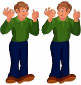 Happy Cartoon Man Standing In Green Top Thumbs Up
