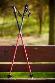Nordic Walking Equipment On The Park Bench.