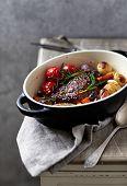 Herb roast pork with roast vegetables