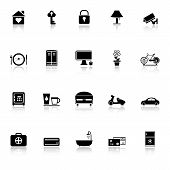 General Home Stay Icons With Reflect On White Background