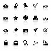 Internet Useful Icons With Reflect On White Background