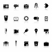 Photography Related Item Icons With Reflect On White Background