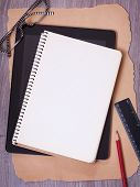 Notebook, tablet and office supplies