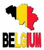 Belgium map flag and text illustration