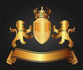 Vector illustration of shield golden lion, crown, ribbon