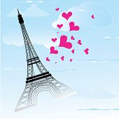 Paris Town In France Card As Symbol Love And Romance Travel