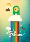 Comic baby shower poster. Vector illustration.