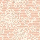 Old lace seamless pattern with ornamental flowers.