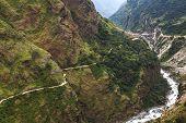 Mountain Path In Himalaya Mountains, Nepal.